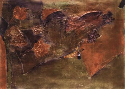 """Golden Fall, 24"""" x 30"""" Mixed Media on paper with thin black frame under glass"""