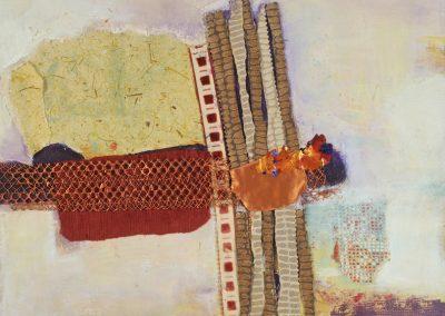 Painting entitled Memorabilia 24x24 mixed medium on canvas