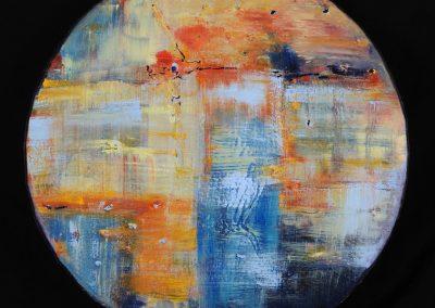 World in Technicolor, 36x36 acrylic on canvas
