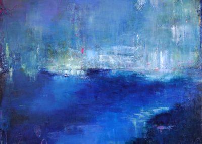 """Mystic Blues, 36"""" x 60"""" acrylic on canvas"""