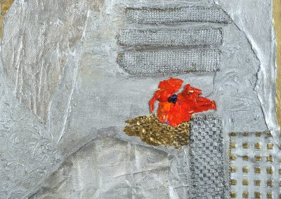 Work entitled Silver Red Poppy 24x30 mixed media on canvas