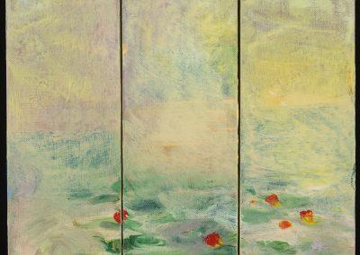 "Golden Pond 12"" x 12"" triptych acrylic on canvas"