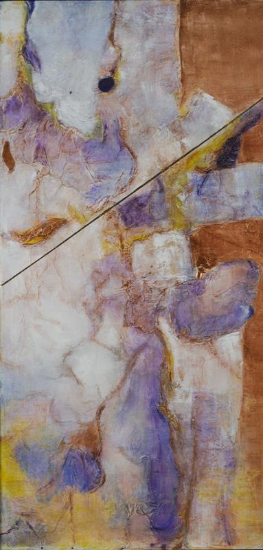 "Kaleidoscope, 48"" x 30"" acrylic on canvas (has a thin black frame)"
